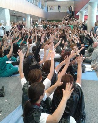 Protesta en el Hospital 12 de Octubre de Madrid.