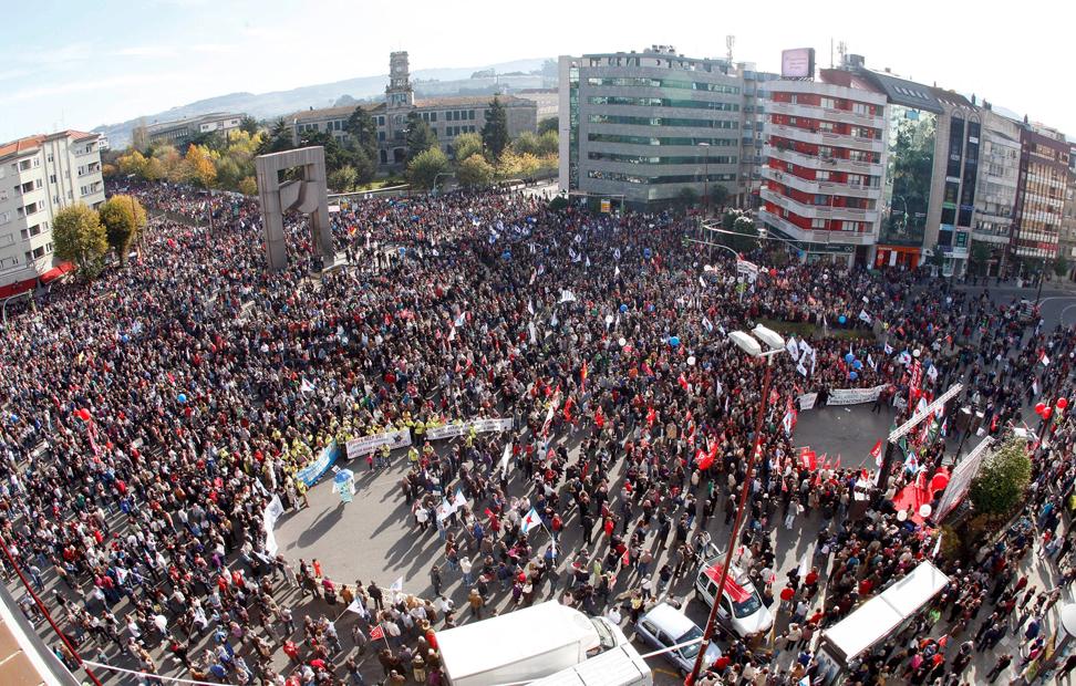 Vista de la concentración en el centro de Vigo.
