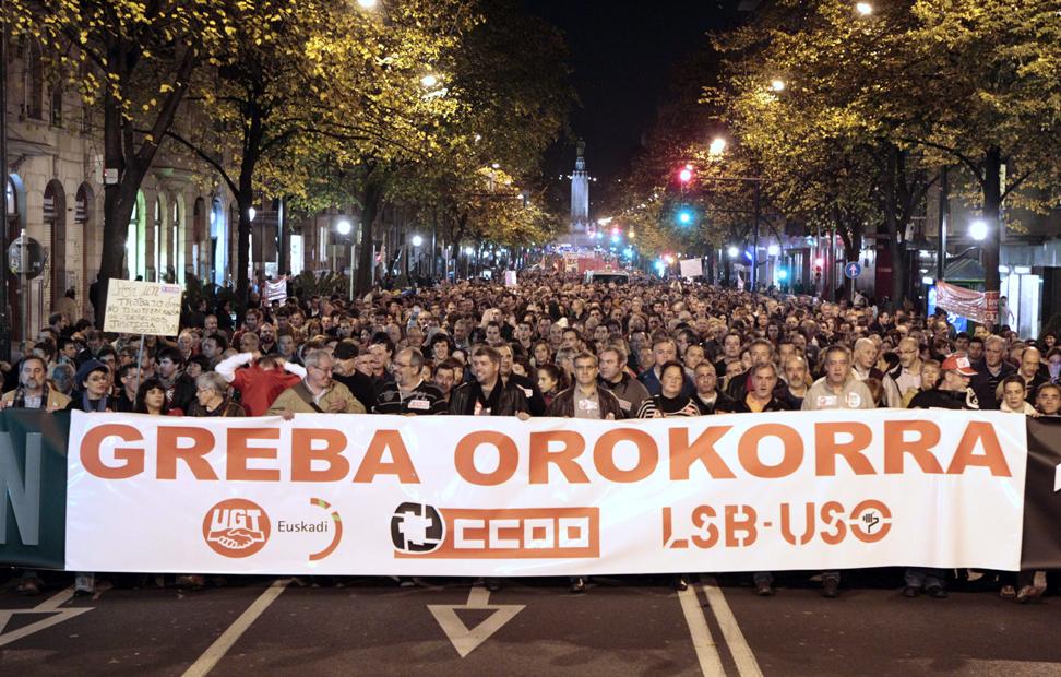 Cabecera de la manifestación en Bilbao.