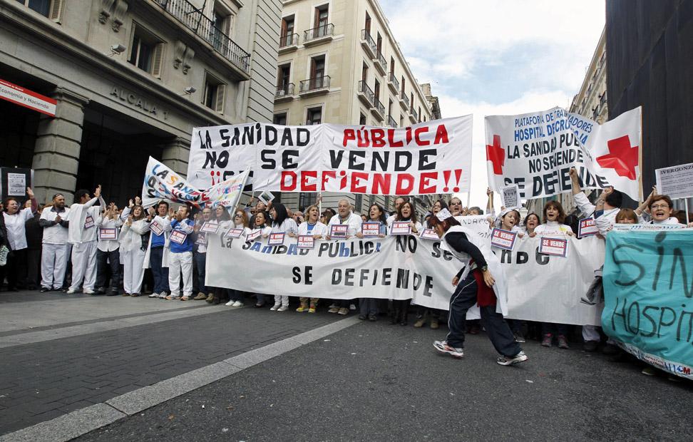 La cabeza de la marcha entrando en la Puerta del Sol.
