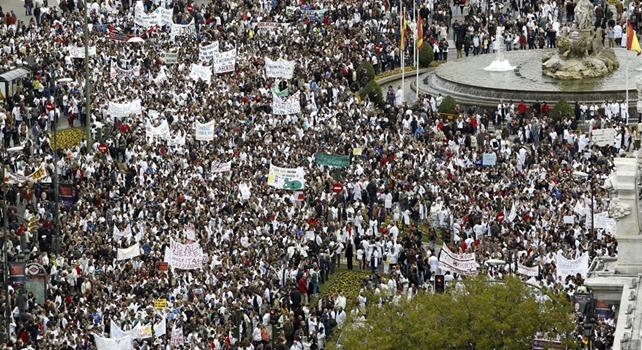 Vista aérea de la manifestación en madrid contra los recortes en la sanidad la semana pasada - EFE