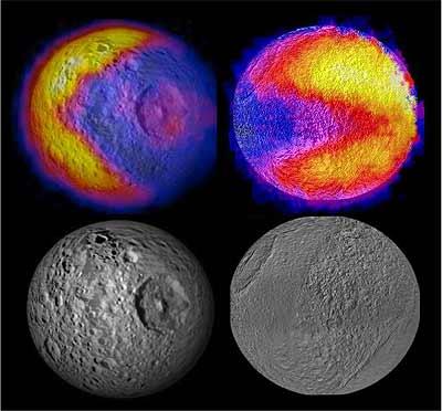 Perfiles de los comecocos hallados en Tetis y Mimas. -NASA