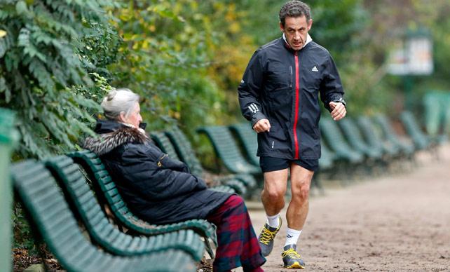 Nicolas Sarkozy haciendo 'footing' en una de sus últimas apariciones públicas. -