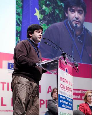 El presidente de la EAPN, Sergio Aires, durante su intervención. (EAPN