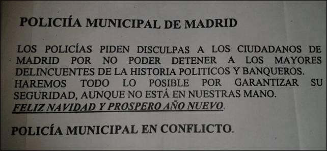 Octavilla repartida por agentes de la Policía Municipal de Madrid