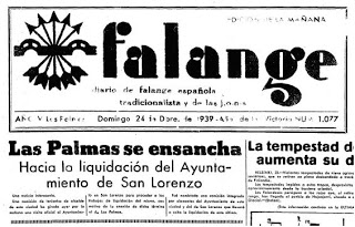 Noticia del diario 'La Falange' que anunciaba en 1939 la expansión de Las Palmas