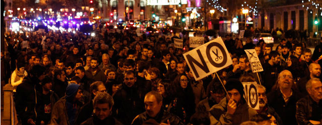 La manifestación, a su paso por la calle Alcalá de Madrid.
