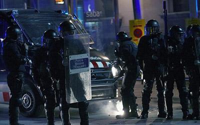 Agentes antidisturbios de los Mossos d'Esquadra, el pasado 14-N.