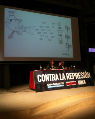La fiscal Inés Herreros y el magistrado Santiago Vidal, durante la conferencia en el Congreso contra la Represión. @Antirepresion