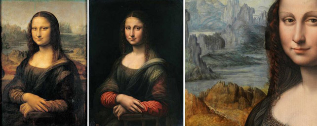 De izquierda a derecha: La Gioconda del Louvre, el cuadro del Prado antes de la restauración y un detalle tras ser restaurado.