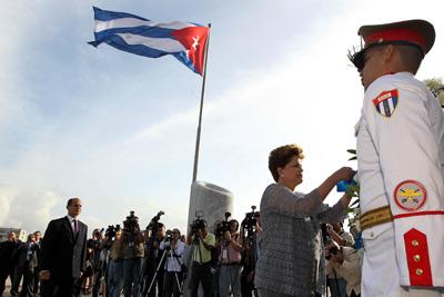 Dilma Rousseff, en la plaza José Martí de La Habana.-