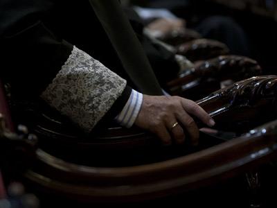 Un magistrado del Tribunal Supremo sentado en estrados. Mónica Patxot