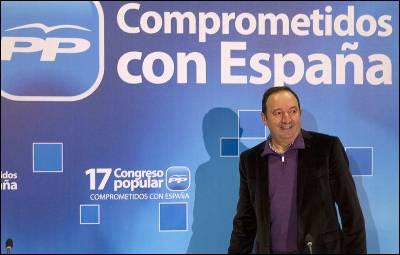 Pedro Sanz en Sevilla, donde preside la comisión organizadora del congreso del PP.