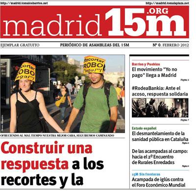 Portada del periódico Madrid 15-M'.