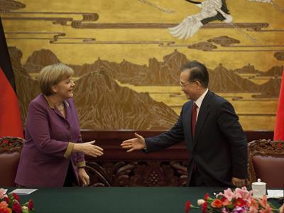 Merkel, ayer, con Wen Jiabao.