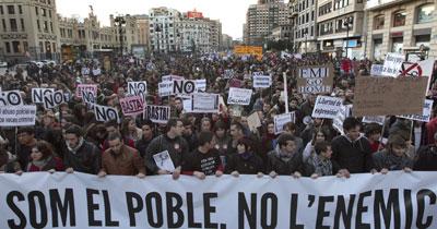 Fotografía de la cabecera de la manifestación.- EFE