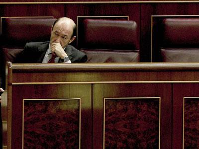 Alfredo Pérez Rubalcaba, este miércoles, en el Congreso.