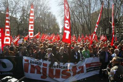 Cabecera de la manifestación en Madrid. -