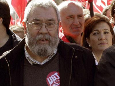 Cándido Méndez, secretario general de UGT, en la manifestación del domingo.