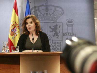 Soraya Sáenz de Santamaría, en la rueda de prensa.
