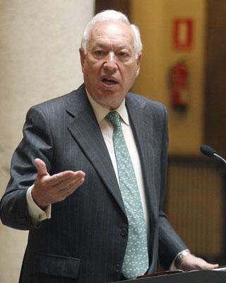 El ministro de Asuntos Exteriores, José Manuel García-Margallo, durante la rueda de prensa que ha ofrecido hoy.- Fernando Alvarado (EFE)