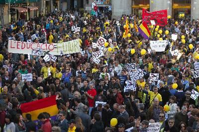 Imagen de archivo de una manifestación contra los recortes celebrada el pasado abril en Barcelona.