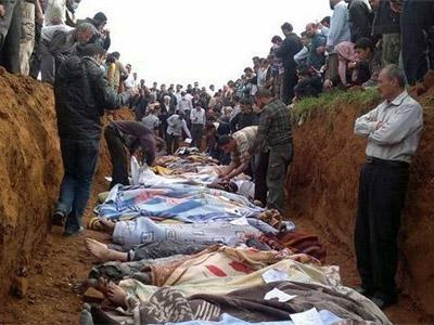 Imagen de una fosa común facilitada por la oposición a la agencia EFE