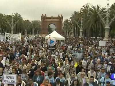 Manifestación por los derechos de las personas discapacitadas,esta mañana, en Barcelona. RTVE.