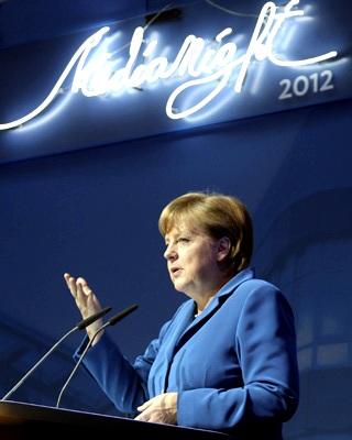 La canciller Angela Merkel habla en el Konrad Adenauer Haus de Berlin.