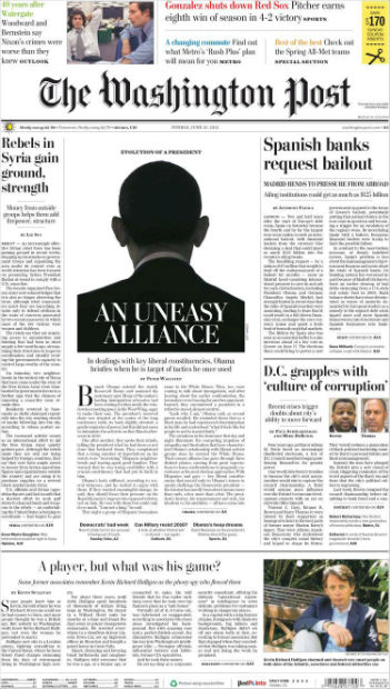 Portada del 'Washington Post' de hoy domingo, 10 de junio de 2012.