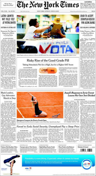 Portada de 'The New York Times' de hoy domingo, 10 de junio de 2012.