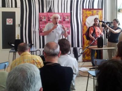 José María Galante 'Chato' en la asamblea de los ex presos del franquismo, celebrada el  sábado 23 de junio en Madrid. / P.C.