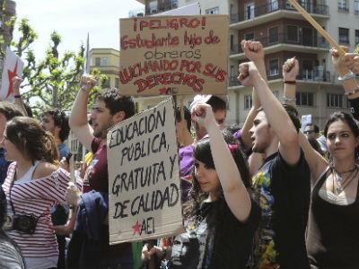 Manifestación de estudiantes en León, el pasado 22 de mayo. J.CASARES/EFE