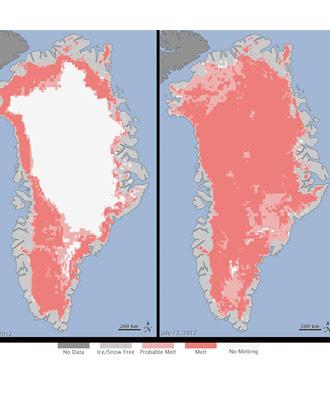 Las imágenes de los ssatélites de la NASA mostraron el rápido deshielo en Groenlandia entre el 8 y el 12 de este mes. NASA