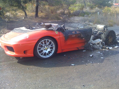 Estado en el que ha quedado el Ferrari.
