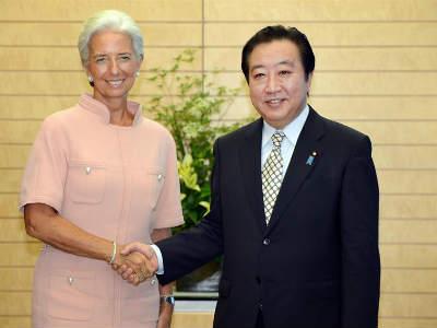 Christine Lagarde junto al primer ministro japonés, Yoshihiko Noda.