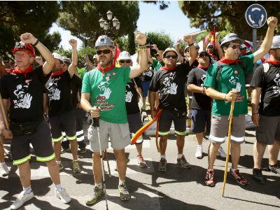 Medio centenar de mineros de Teruel llegaron la semana pasada a la localidad alcarreña de Azuqueca de Henares. EFE
