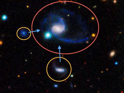 La galaxia GAMA202627 en compañía de otras dos más pequeñas que simulan a las Nubes de Magallanes respecto a la Vía Láctea. DR. AARON ROBOTHAM / ICRAR / ST. ANDREWS