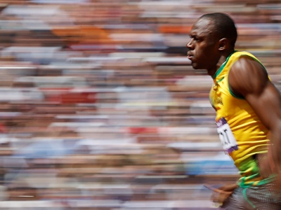 Bolt, durante su serie. REUTERS/Phil Noble