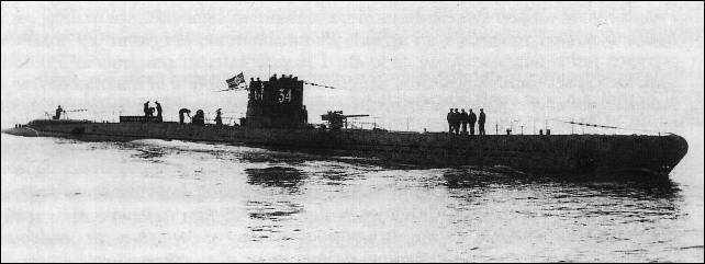 El U-34, la embarcación alemana que atacó al submarino C-3.