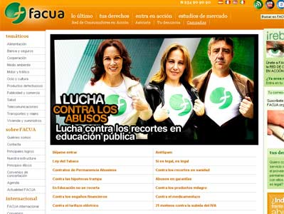 Captura de la web de Facua.