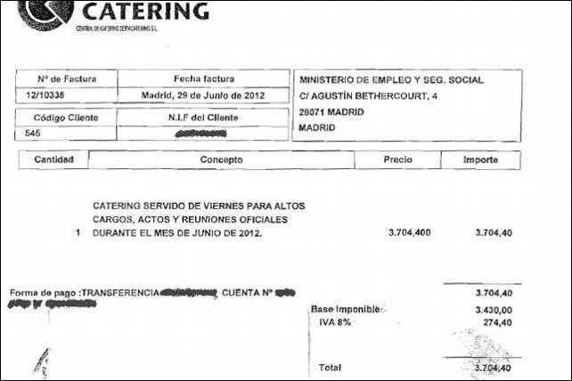 Factura emitida por Central de Cátering Servicátering S.L. al Ministerio de Empleo.