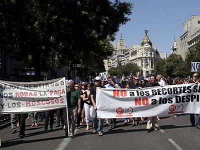 Los funcionarios, en una protesta en julio en Madrid. EFE