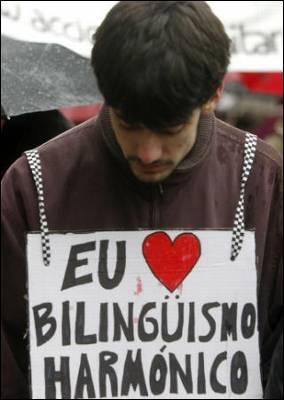 Pancarta de un manifestante pro bilingüismo en Galicia, esta mañana, en Santiago. EFE