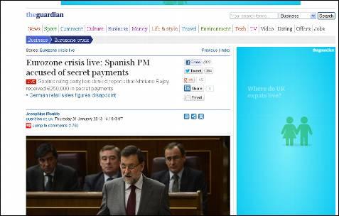 Crisis de la Eurozona en directo: El presidente español, acusado de cobros secretos, titula The Guardian.