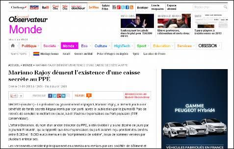 Mariano Rajoy desmiente la existencia de una caja secreta en el PP, titula el Nouvel Observateur en Francia.
