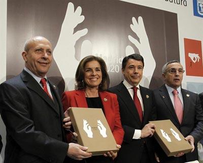 José Ignacio Wert, Ana Botella, Ignacio González y Alejandro Blanco en la presentación del dossier de Madrid 2020.