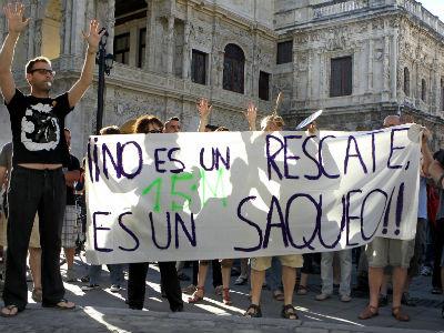 El 15-M protesta contra el rescate.- Juan Ferreras (EFE)