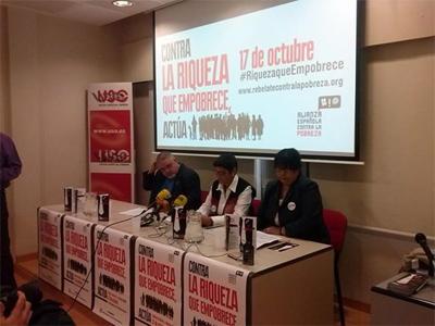Mercedes Ruiz-Giménez (CONGD), Rosario Zanabria (Cumbre Social) y Carlos Susías (Plataforma del Tercer Sector), en la presentación de las movilizaciones.