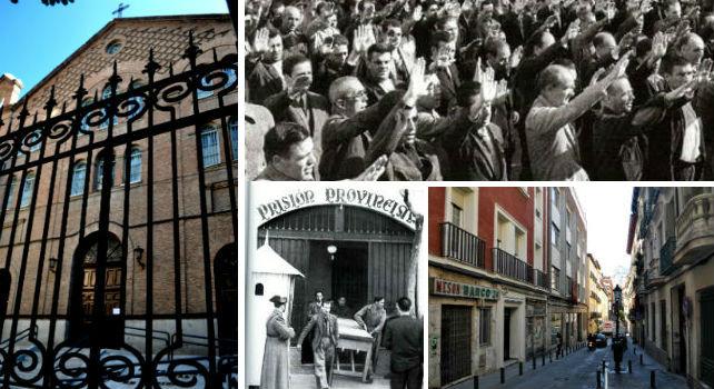 A la izquierda el convento de Santo Domingo el Real; abajo a la derecha la calle Barco. Las dos fotografías en blanco y negro son de la cárcel de Yeserías.